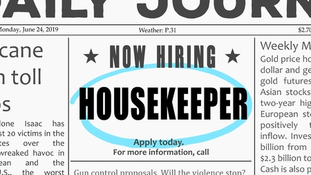 Illustration pour Housekeeper job offer. Newspaper classified ad career opportunity. - image libre de droit