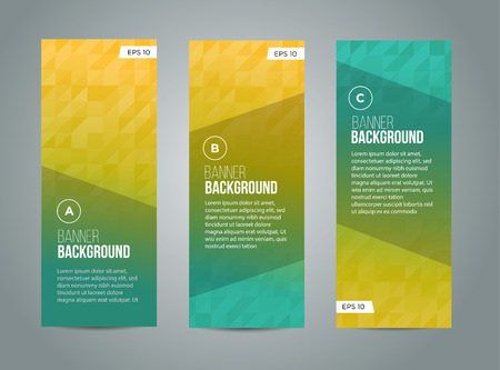 Illustration for Abstract banner design, gradient triangle style. Vector - Royalty Free Image
