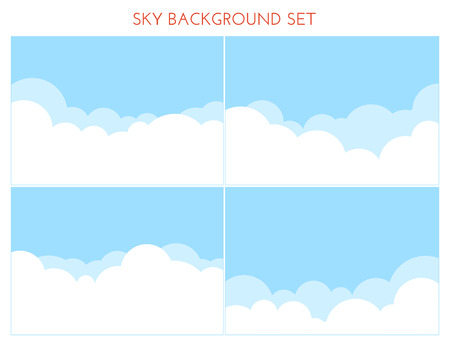 Illustration for Set of Sky Background.  Vector illustration. Cartoon clouds - Royalty Free Image