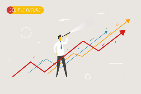 Illustration pour Businessman with telescope looking to the future. growth charts. Vector illustration Eps10 file. Success, growth rates - image libre de droit