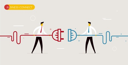 Illustration pour Businessmen connect connectors. Cooperation interaction. Vector illustration Eps 10 file. Success, Cooperation - image libre de droit