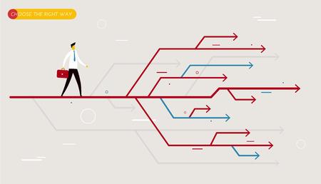 Illustration pour Businessman chooses the right path.  Vector illustration Eps10. Success, career - image libre de droit
