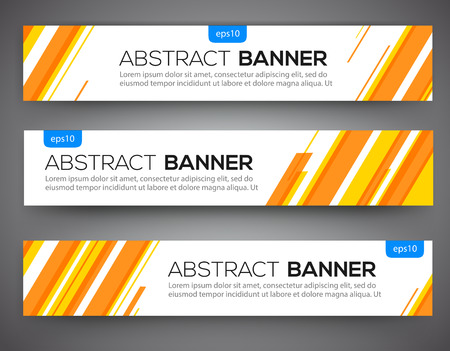 Ilustración de Abstract banner design, yellow and orange color line style. Vector - Imagen libre de derechos