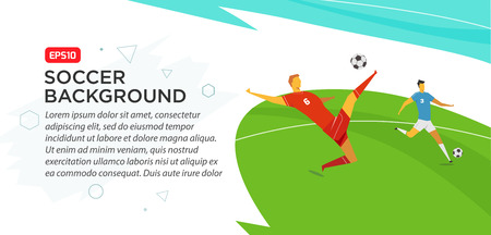 Soccer players. Fool color vector illustration in flat style isolated on white background. Poster banner print.