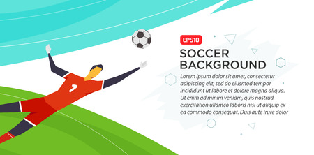 Soccer player goalkeeper. Fool color vector illustration in flat style isolated on white background. Poster banner print.