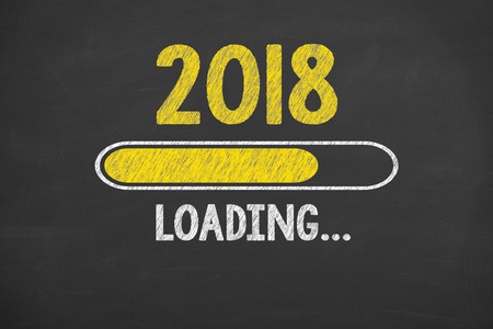 Photo pour Innovation Technology New Year 2018 on Chalkboard - image libre de droit