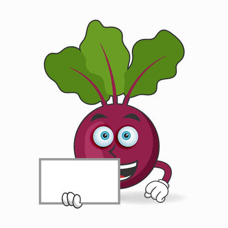 Onion Purple mascot character holding a white blackboard. vector illustration