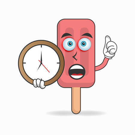 Red Ice Cream mascot character holding a wall clock. vector illustration