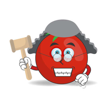 The Tomato mascot character becomes a judge. vector illustration