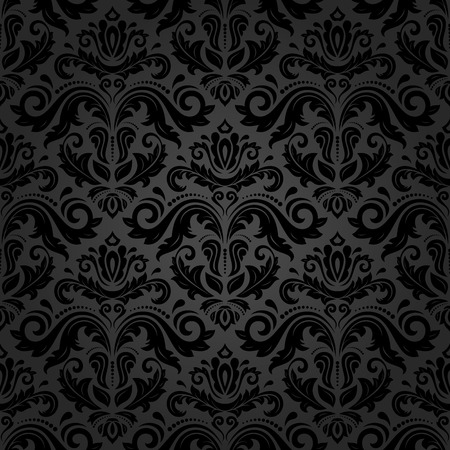 Illustration pour Oriental vector fine pattern with black damask, arabesque and floral elements. Seamless abstract background - image libre de droit