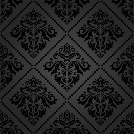 Illustration pour Oriental vector fine texture with damask and floral elements. Seamless abstract classic dark background - image libre de droit