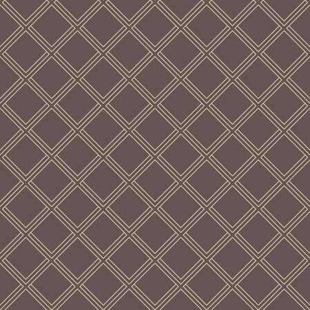 Illustration pour Geometric fine abstract vector brown background with golden diagonal lines. Seamless modern pattern - image libre de droit