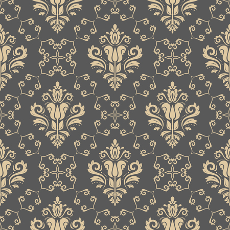 Illustration pour Oriental vector classic pattern. Seamless abstract golden background - image libre de droit
