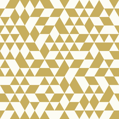 Illustration pour Geometric vector pattern with white and golden triangles. Seamless abstract background - image libre de droit