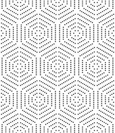 Photo for Geometric repeating ornament with black dotted hexagons. Seamless abstract modern pattern - Royalty Free Image