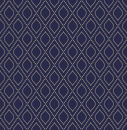Illustration pour Geometric dotted vector blue and golden dotted pattern. Seamless abstract modern texture for wallpapers and backgrounds - image libre de droit