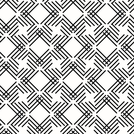 Illustration pour Seamless background for your designs. Modern vector black and white ornament with diagonal lines. Geometric abstract pattern - image libre de droit