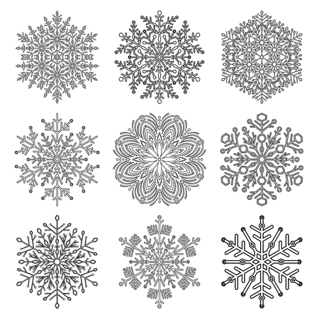 Illustration pour Set of vector snowflakes. Black and white winter ornaments. Snowflakes collection. Snowflakes for backgrounds and designs - image libre de droit