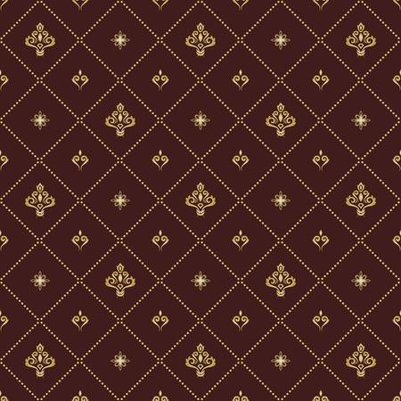 Illustration pour Seamless vector pattern. Modern geometric ornament with golden royal lilies. Classic vintage background - image libre de droit