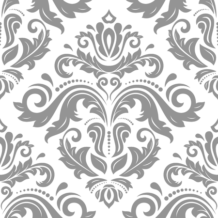 Illustration pour Orient vector classic pattern. Seamless abstract silver background with vintage elements. Orient background. Ornament for wallpaper and packaging - image libre de droit