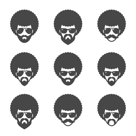 Illustration pour Funky male in sunglasses with Afro hair. - image libre de droit
