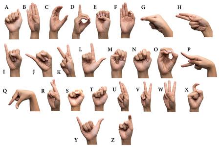 Photo pour Finger Spelling the Alphabet in American Sign Language (ASL) - image libre de droit