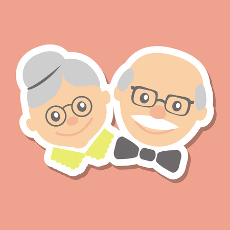 Illustration for Couple of older people. Grandmother and grandfather. Vector illustration greeting. - Royalty Free Image