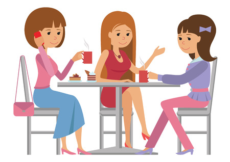 Illustration pour Three beautiful friends women talking friendly at coffee shop while drinking hot coffee, vector illustration of coffee break on white background. - image libre de droit