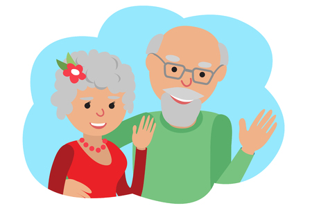 Illustration for Happy senior couple waving his hand. Vector drawing in cloud communication icone. Hello gesture. - Royalty Free Image