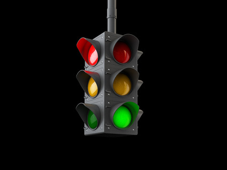 Foto de 3d Illustration of traffic lights isolated on black. - Imagen libre de derechos