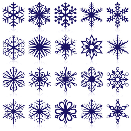Vector collection of snowflake shapes isolated on white background.