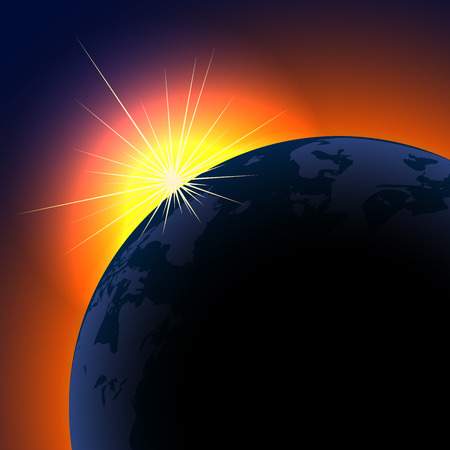 Illustration for Sun rising over planet background with copy space.  - Royalty Free Image