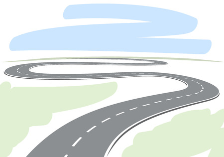 Illustration for Abstract drawing of winding highway leading to the horizon vector illustration  - Royalty Free Image