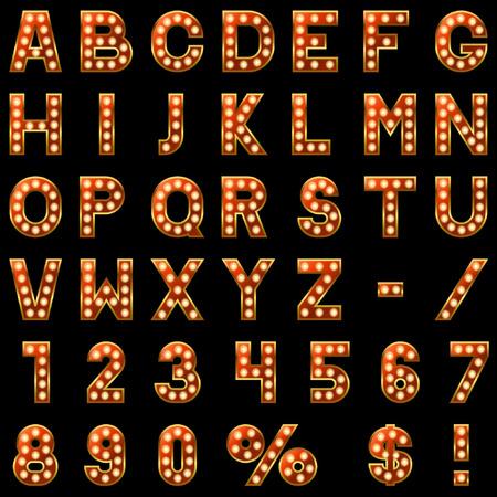 Ilustración de Show lamps red alphabet isolated on black background. - Imagen libre de derechos