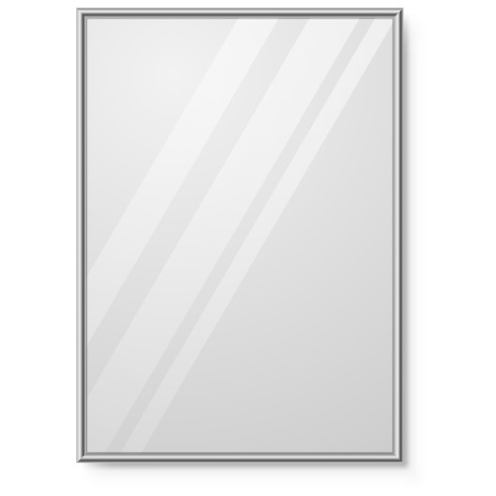 Illustration pour Mirror with chrome frame on the wall vector template. - image libre de droit