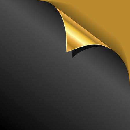 Illustration pour Black cover page gold corner curl vector template. - image libre de droit
