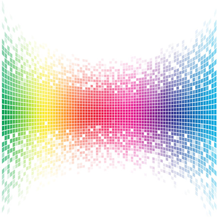Illustration pour Abstract concave rainbow mosaic vector template with white copy space. - image libre de droit