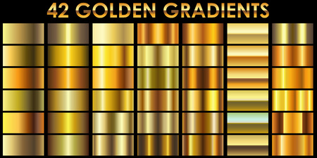 Ilustración de Set of 42 golden color illustrator gradients with black background. All gradients are added to swatches and ready for use. - Imagen libre de derechos