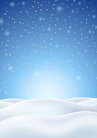 Illustration pour Winter Background with Falling Snow and White Snowy Hills. Christmas Vertical Backdrop. Vector Illustration. - image libre de droit