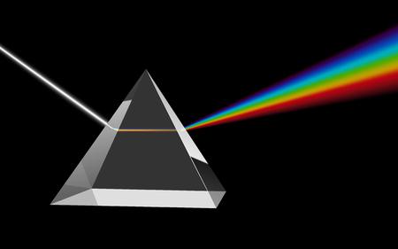 Ilustración de Dispersion of Visible Light Going through Glass Prism on Black Background. Optical Effect Educational Image. Vector Illustration. - Imagen libre de derechos