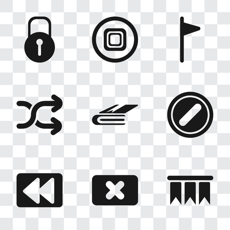 Illustration pour Set Of 9 simple transparency icons such as Bookmark, Close, Rewind, Forbidden, Notebook, Shuffle, Flag, Stop, Locked, can be used for mobile, pixel perfect vector icon pack on transparent background - image libre de droit