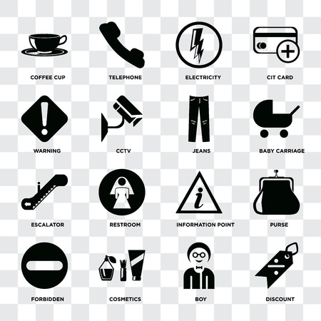 Ilustración de Set Of 16 icons such as Discount, Boy, Cosmetics, Forbidden, Purse, Coffee cup, Warning, Escalator, Jeans on transparent background, pixel perfect - Imagen libre de derechos