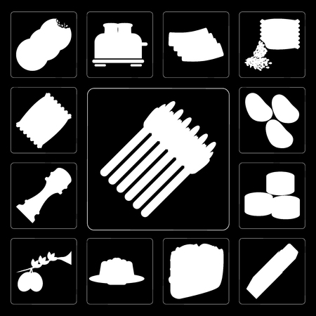 Illustration pour Set Of 13 simple editable icons such as Asparagus, Butter, Taco, Jelly, Olives, Sushi, Pepper, Potatoes, Chips on black background - image libre de droit