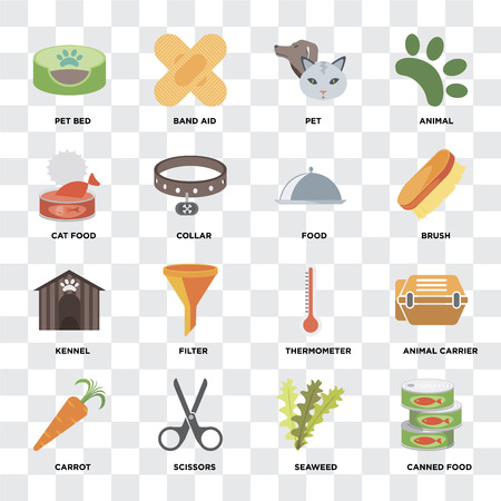 Illustrazione per Set Of 16 icons such as Canned food, Seaweed, Scissors, Carrot, Animal carrier, Pet bed, Cat Kennel, Food on transparent background, pixel perfect - Immagini Royalty Free