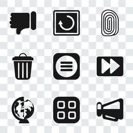 Illustration pour Set Of 9 simple transparency icons such as Megaphone, Menu, Worldwide, Fast forward, Garbage, Fingerprint, Restart, Dislike, can be used for mobile, pixel perfect vector icon pack on - image libre de droit
