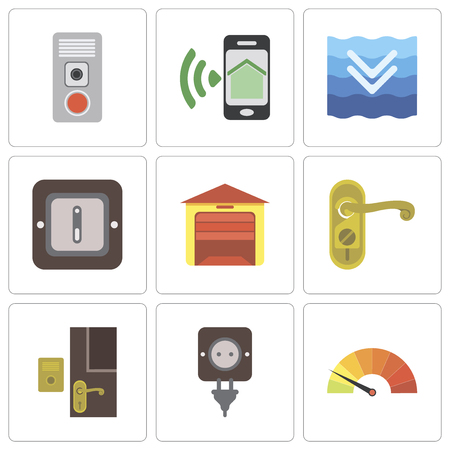 Ilustración de Set Of 9 simple editable icons such as Meter, Plug, Doorbell, Doorknob, Garage, Switch, Deep, Smartphone, Intercom, can be used for mobile, pixel perfect vector icon pack - Imagen libre de derechos