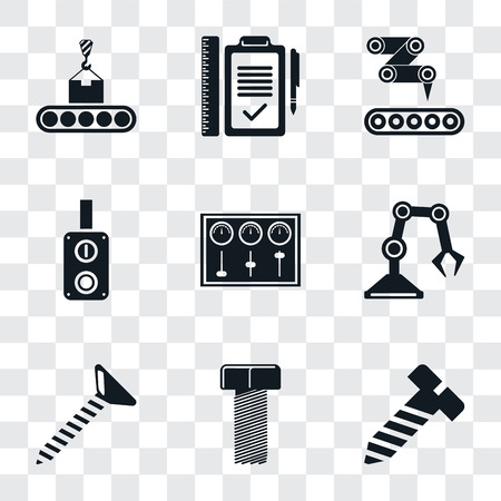Illustration pour Set Of 9 simple transparency icons such as Bolt, Screw, Industrial robot, Control panel, Switch, Conveyor, Plan, can be used for mobile, pixel perfect vector icon pack on transparent - image libre de droit
