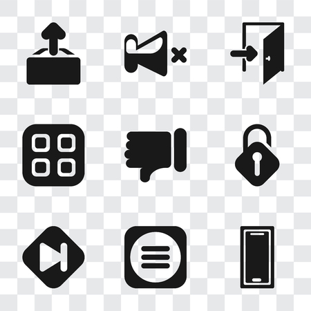 Illustration pour Set Of 9 simple transparency icons such as Smartphone, Menu, Skip, Unlocked, Dislike, Exit, Mute, Upload, can be used for mobile, pixel perfect vector icon pack on transparent background - image libre de droit