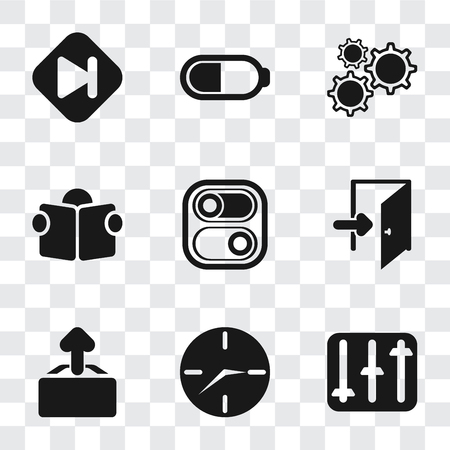 Illustration pour Set Of 9 simple transparency icons such as Controls, Clock, Upload, Exit, Switch, Reading, Settings, Battery, Skip, can be used for mobile, pixel perfect vector icon pack on transparent background - image libre de droit