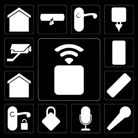 Illustration pour Set Of 13 simple editable icons such as Socket, Microphone, Voice control, Locking, Handle, Remote, Smart home, Cctv on black background - image libre de droit